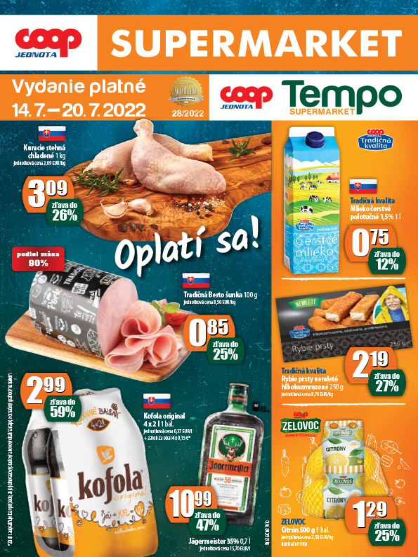 COOP Jednota Slovensko Supermarket a Tempo